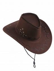 chapéu cowboy marron efeito camurça - adulto