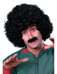 Peruca e bigode preto para homem