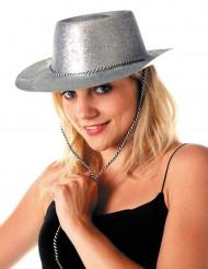 Chapéu vaqueira prateado com purpurinas