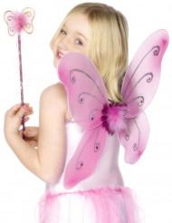 Kit com borboleta cor-de-rosa para meninia