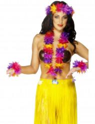 Colar havaiano amarelo, violeta e cor-de-rosa