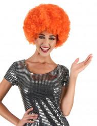 Peruca afro/ palhaço cor de laranja confort adulto