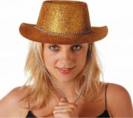 Chapéu vaqueira purpurinas douradas