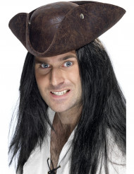 Chapéu pirata castanho adulto