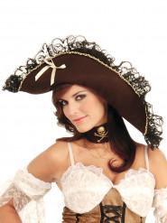 Chapéu pirata mulher castanho