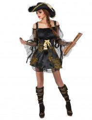 Disfarce de pirata preto e dourado mulher