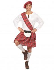 Disfarce escocês homem vermelho e branco