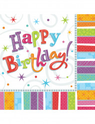 16 Guardanapos de papel happy Birthday coloridos 33 x 33 cm