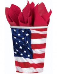8 Copos bandeira americana
