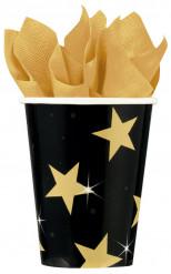 8 Copos pretos com estrelas douradas