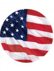8 Pratos bandeira americana 27 cm