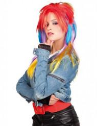Peruca multicor punk mulher