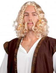 Peruca viking com bigode para homem