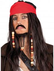 Peruca de pirata comp bandana vermelho homem