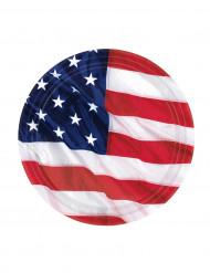 8 Pratos bandeira americana 18 cm