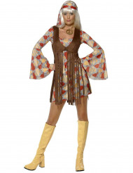 Disfarce hippie anos 1970 mulher