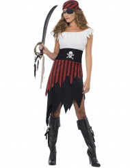 Disfarce de pirata vestido recortado mulher