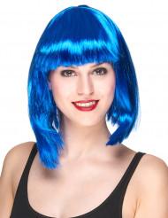 Peruca semi-longa azul para mulher