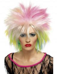Peruca curta colorida punk mulher