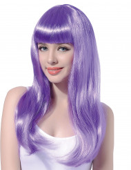 Peruca comprida violeta mulher