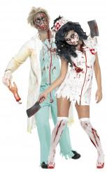 Disfarce de casal enfermeira e médico zombies Halloween