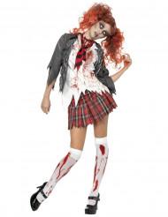 Disfarce zombie estudante mulher Halloween