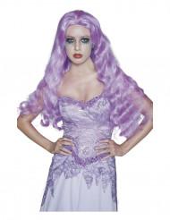 Peruca comprida gótica violeta Halloween