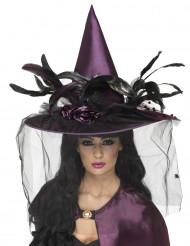 Chapéu bruxa luxo violeta mulher Halloween