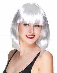 Peruca franja quadrada comprimento médio branca mulher