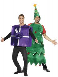 Disfarce de pinheiro e presente de Natal
