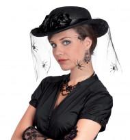 Chapéu com véu de uma rede de aranhas mulher