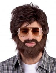 Peruca Dude com barba e bigode adulto