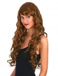 Peruca glamorosa comprida castanha com caracóis mulher