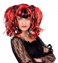 Peruca Gótica vermelha e preta Mulher