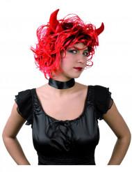 Peruca diaba mulher com cornos halloween