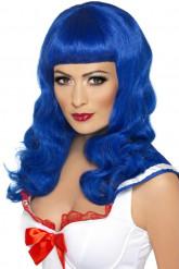 Peruca comprida azul mulher