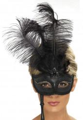 Máscaras de penas pretas adulto