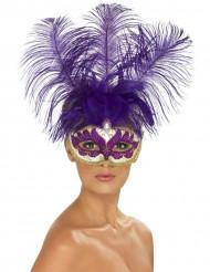 Mascarilha veneziana lilás com penas lilás adulto