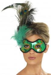 Máscara verde com penas adulto