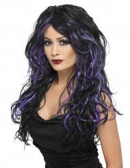 Peruca preta e violeta mulher