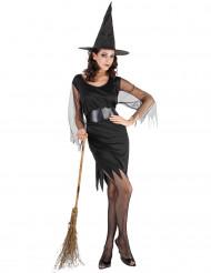 Disfarce bruxa mulher Halloween mangas de tule