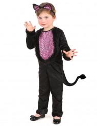 Disfarce de gato preto e rosa menina