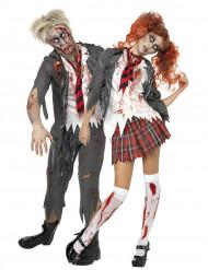 Disfarce de casal estudantes zombies de Halloween