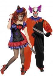 Disfarce casal palhaços terrorizante Halloween