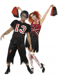 Disfarce casal futebolista americano e cheerleader zombie Halloween