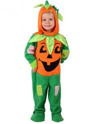 Disfarce abóbora laranja e verde criança Halloween
