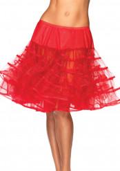 Saiote meio longo transparente vermelho mulher