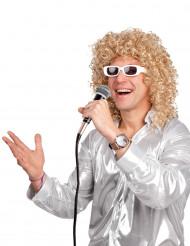 Peruca encaracolada loira com óculos brancos homem