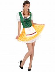 Disfarce de bávara para mulher amarelo e verde