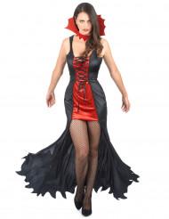 Disfarce vampira mulher vermelho e preto Halloween